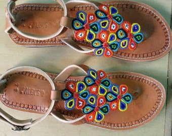 mstari maasai sandals /tribal sandals /leather sandals / beaded sandals