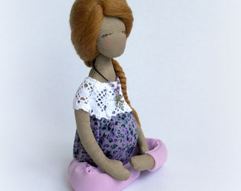 Pregnant Yoga doll Soft sculpture Pregnant rag doll Fabric collectible doll Textile doll Valerie