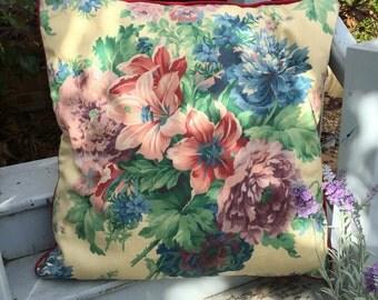 Flowered chintz cushion