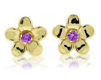 10K Yellow Gold Genuine Purple Amethyst Gemstone Flower Stud Earrings - February Birthstone - Girl's Gift Idea - Birthstone Earrings