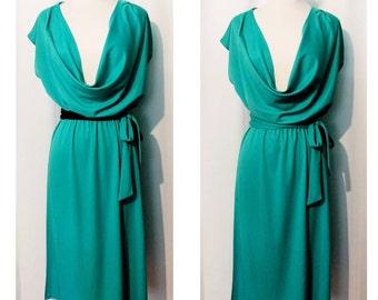 80s Deep Cowl Neck Knit Dress With Reversible Belt