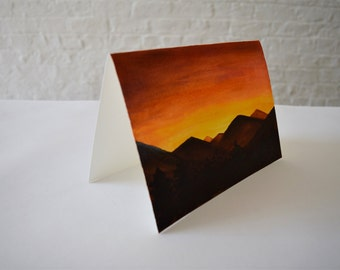 Original Watercolour and Acrylic Painting on Paper - Mountains at Sunset