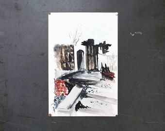 watercolor original painting | after fire [Detroit]