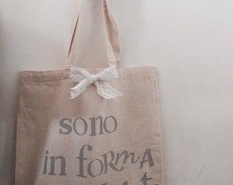 Cotton shopper bag written hand-decorated