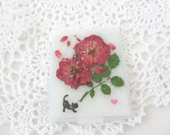 compact mirror gift,pressed flower,real  flower,rose,cat