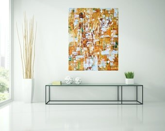 Abstract painting, acrylic, orange, gold, paintings, art, painting, original, art by Camilla Schima