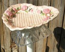 Pink Heart Bird Feeder, Recycled Garden Art, Staked Bird Feeder, Bird Feeder Pole, Heart Garden Decoration, Lawn Art Garden Art Yard Art