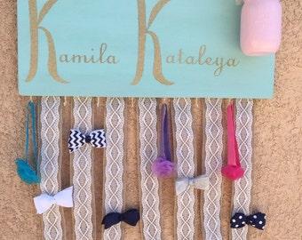 Girls' cusrome name, bow, and headband holder