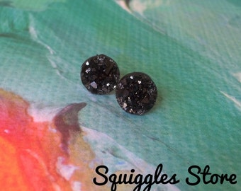 Black Sparkling Faux Druzy Hypoallergenic Stud Earrings with Titanium Posts - 10mm Sensitive Ears