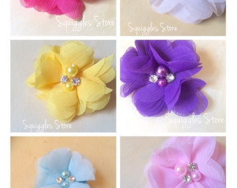Flower Clips - Pink, Yellow, Blue, Purple, White or Hot Pink