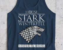 GOT House Stark Winterfell Inspired Winter Is Coming Sigil Crest Jon Snow Tank Top Sleeveless T-Shirt Top Vest All Sizes And Colours