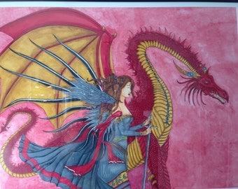 Fantasy painting: elf dragon princes