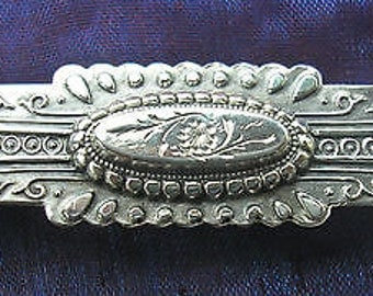 Edwardian Antique Embossed Silver Brooch