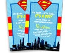 Superman Inspired, Superhero Baby Shower Invitations & Blank Digital Thank You Card to match
