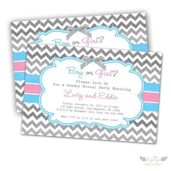 Chevron Gender Reveal Invitations & Blank Thank You Card to match