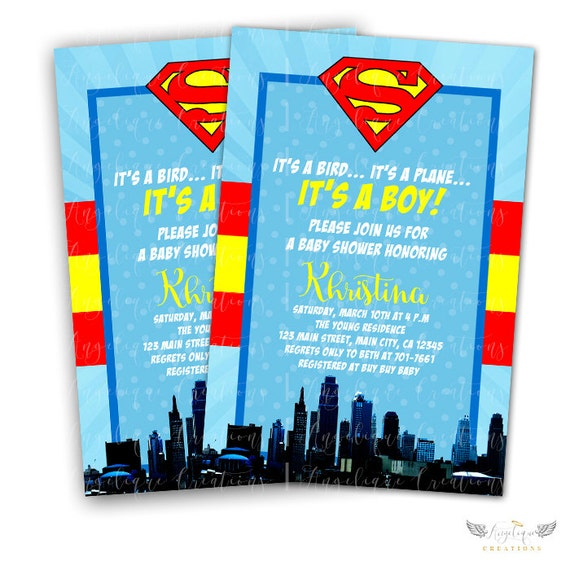 Superman Inspired, Superhero Baby Shower Invitations & Blank Digital Thank You Card to match