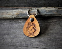 Precious moment - mom and baby - genuine leather keychain