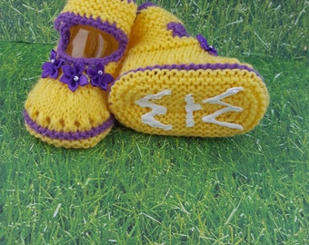 Non-slippery-knitted baby booties