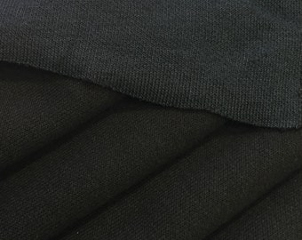 Cotton Blend Double Face Jersey Knit Fabric (Wholesale Price Available By The Bolt) USA Made - 1044A Black - 1 Yard