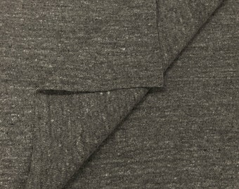 1x1 Rib Knit Fabric  (Wholesale Price Available By the Bolt) USA Made Premium Quality - 4001PCR Heather Grey - 1 Yard