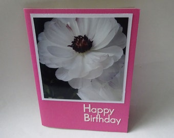 Handmade Birthday Card with White Ranunculus Flowers - #1301