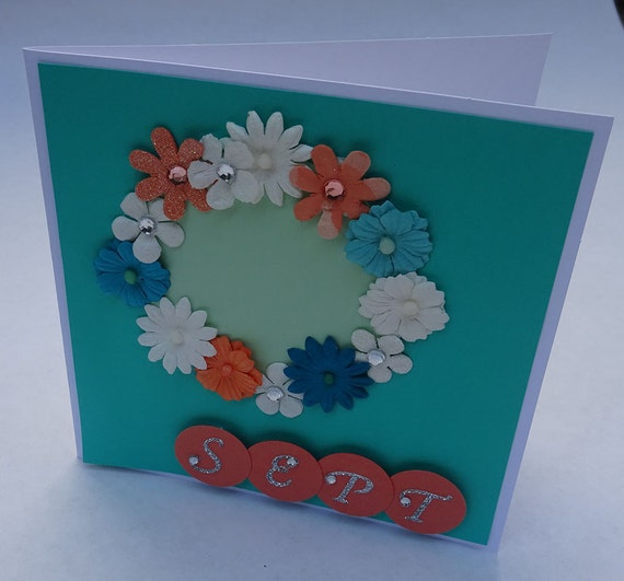 Greeting Cards - Handmade September Monthly Card with Flowers