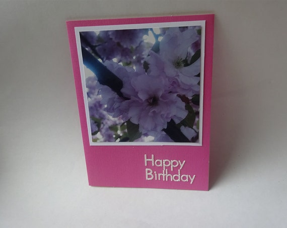 Birthday Card with Cherry Blossoms Flowers - #102 - 11