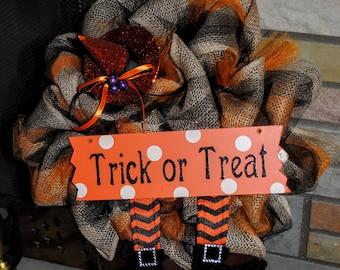 Halloween Wreath - Trick or Treat - Fall Wreath - Burlap Halloween Wreath - Witch Legs - Fall Burlap Wreath - Black and Orange Wreath - Fall