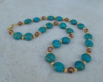Mosaic Turquoise Gemstone Swarovski Crystal Beaded Necklace