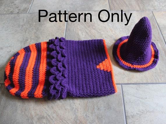 Newborn Crochet Witch Hat Pattern : Witch Cocoon With Hat Crochet Pattern Newborn Baby Halloween