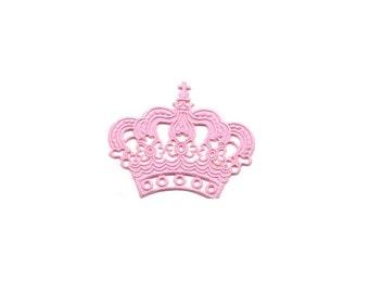 Cute Pink Crown Cross Fleur De Lis Embroidered Iron On Sew Patches Patch Appliques Applique Biker For Jackets Jeans