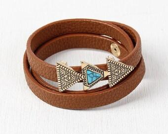 Aztec Triple Triangle Wrap Bracelet - Brown