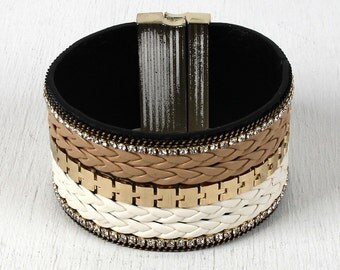 Braided Leather Rhinestone Cuff Bracelet - Ivory Multi