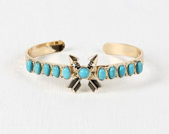 Crossed arrows turquoise bracelet - goldmint