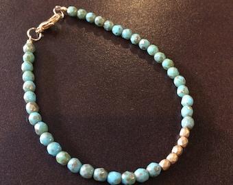 Dainty Bracelet, Layering Bracelet, Simple Bracelet, Simple Bead Bracelet, Turquoise Bracelet, Gold Bracelet