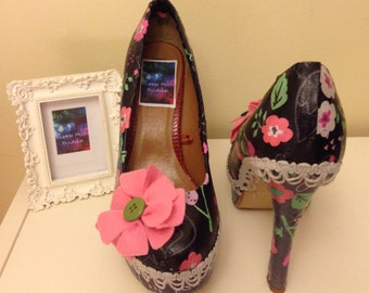 Size 4 Black and Grey with pink and green detail heeled shoes, Wedding, Prom