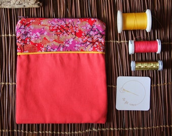 Sleeve fabric Japanese / flowered coral kit / cover Japanese Rose