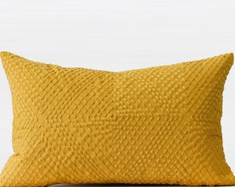 "Luxury Yellow Diamond Embroidered Pillow Cover 12""X20"""