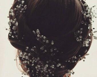 Wedding  accessories headband pearl bridal veil bridal headband bridal headpiece wedding headpiece crystal twigs wedding vine long vine