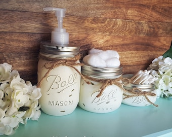 Mason Jar Bathroom Set. Cream. Rustic Bathroom Decor. Mason Jar Soap Dispenser. Farmhouse Decor. Wedding Gifts. Distressed Primitive Decor.