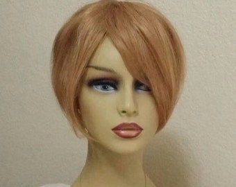 Wiglet 100% Human Hair Golden-Red Blonde Topper, Wig, Extensions, Top Piece, Filler, Add-On. Coverage for crown, fringe, and bangs #800