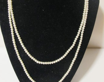 Vintage  Long Strand White Pearl Necklace
