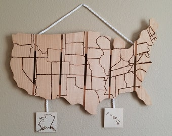 Rustic Wooden Pallet USA Travel Tracker Map (Scratch off Map)