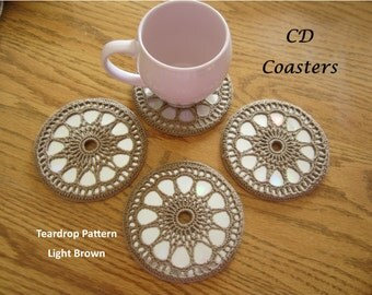 Crocheted CD Coaster Sets, Various Patterns, Recycled CDs, Unique Coasters, Coaster Sets