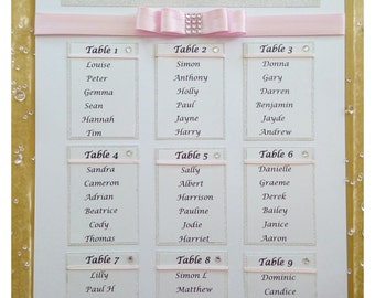 Glitter Wedding table/ seating plan available in different colours