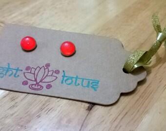 Handcrafted Orange Button Earrings