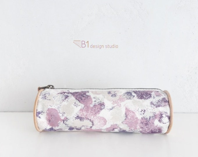 Pattern Pencil Case, Colorful Canvas Pencil Case, Back to School, Children Gift, Leather Pencil Case, Morning Glory Pattern, Purple Pink