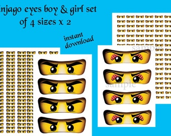 INSTANT DL- Ninjago eyes. Ninjago eyes boy & girl -for Balloon, Stickers, Lollipop, Favor bags, Cups - Ninjago birthday (2 Sets - 4 sizes)