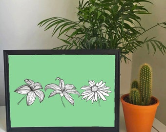 A4 Dusty Green Flower Illustration