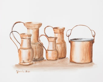 Watercolor print by me made, copper jugs